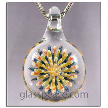SALE - Blown Glass Pendant Imploison lampwork necklace focal - Glass Peace glass jewelry (4482)