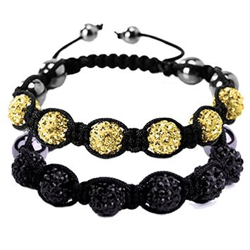 BodyJ4You 2PCS Disco Ball Bracelets 6 Beads Black Yellow Pave Crystals Iced Out Jewelry