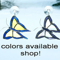 Stained Glass Butterfly Suncatcher Blue and Yellow