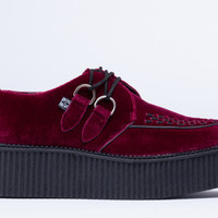T.U.K. Mondo Creeper in Burgundy Velvet at Solestruck.com