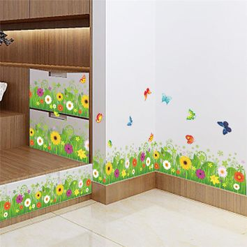 DIY Skiting Line  Flower Vine Plant Butterfly Wall Sticker Kitchen Garden Home Decoration Mural Decal Living Room Bedroom Decor