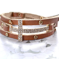 Cross Leather Wrap Bracelet Cognac