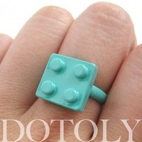 Adjustable Lego Brick Ring in Turquoise Blue from Dotoly Love