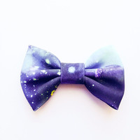 Cute Lovely Bow hair Clip Beautiful universe galaxy Star :) retro hair bow handmade by Love Factory