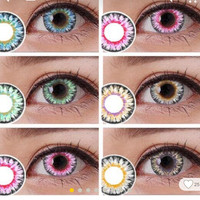 Milk powder series Colorful Cosmetic contact lenses eye color yearly use DIA 14.5mm Coloured contacts eye color