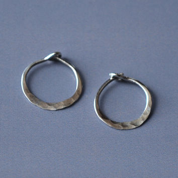 Tiny Silver Hoops, 1cm Hammered Small Hoops, Sterling Silver Mini Hoop Earrings, Simple Everyday Silver Sleepers, Forged 925 Silver Earings