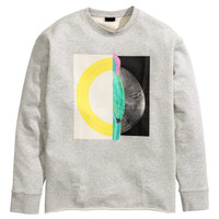 H&M - Sweatshirt with Printed Design - Gray - Men