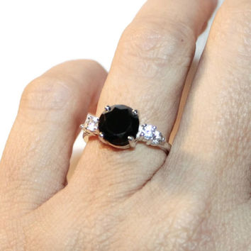 Black Diamond Ring, Moissanite Ring, Sterling Silver, Anniversary Ring, Proposal Ring