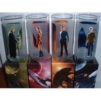 Star Trek Set of 4 16oz Glass: Featuring Kirk, Spock, Uhura, and Nero Multicolored