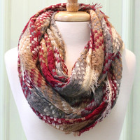 Fall Frays Infinity Scarf {Burgundy Mix}