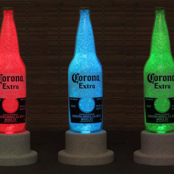 Corona Beer 24oz Color Changing LED Remote Controlled Eco Friendly rgb LED Bottle Lamp/Party Light-Mexico Beer  -Bodacious Bottles-