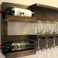 Kona and Chrome Wall Mounted Wine Rack with Shelves and Decorative Chrome Bronze Metal Mesh, Wine and Liquor Shelf and Cabinet