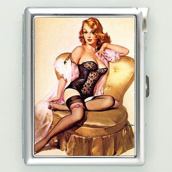 Sexy Pin Up Girl Gold Chair Cigarette Case with Lighter Wallet Business Card Holder CGC0089
