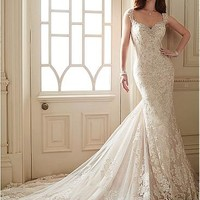 [299.99] Marvelous Tulle V-neck Neckline Mermaid Wedding Dresses with Beaded Lace Appliques - Dressilyme.com