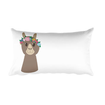 Flower Crown Alpaca Rectangular Pillow