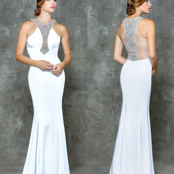 GLOW G677 Jeweled Neckline and Sheer Back Prom Evening Dress