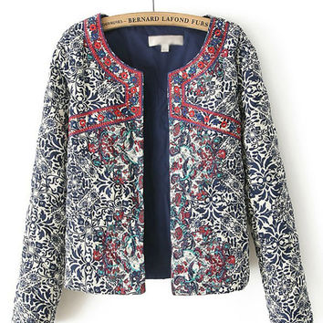 Blue and White Porcelain Print Long Sleeve Embroidered Blazer