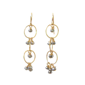 Pyrite Gold Dangle Earrings