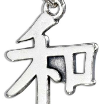"""STERLING SILVER CHINESE SYMBOL """"PEACE"""" CHARM"""