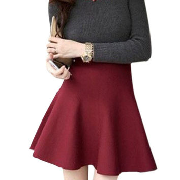 Women Pleated Mini Skirt Skater High Waist Short Skirts Stretch Skirt Size M