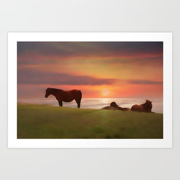 Ponies and sunset Art Print by  Alexia Miles photography