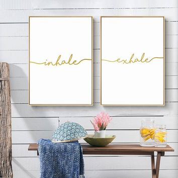 Inhale Exhale Golden Simple Quote Canvas Posters and Prints Nordic Style Wall Art Painting Wall Picture for Living Room Decor