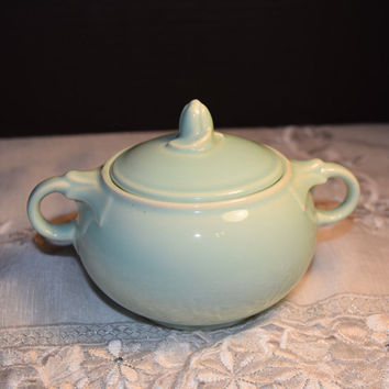 LuRay Pastels Sugar Bowl Surf Green Vintage TS&T Lu-Ray Pastels Covered Sugar Bowl with Lid Green Taylor Smith Taylor Replacement China