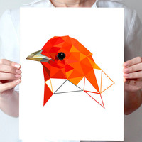 "piranga art print  8""x10"" or 11""x14"" - Geometric - Bird art - orange, red, yellow - ohtteam"