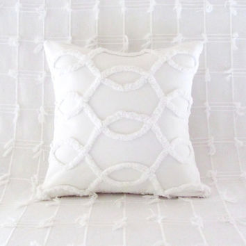 white pillow cover WHITE CURVES white cushion cover 16 X 16 cottage chic vintage chenille shabby style