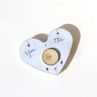 French Country Shabby Chic Tealightholder Heart by byAnnoDomini