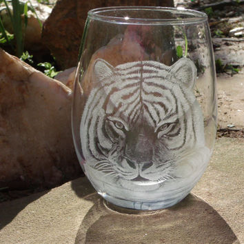 Tiger stemless wine glass OOAK One of a kind glass art Big cat wildlife