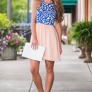 Gravitate Towards Me Dress, Peach-Blue