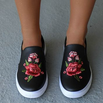 Drive You Wild Black Floral Rose Patch Sneaker