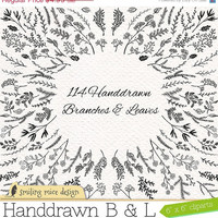 """80% OFF SALE """"Branches and Leaves"""" digital cliparts, sketchy clipart pack with branches and leaves"""