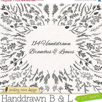 "80% OFF SALE ""Branches and Leaves"" digital cliparts, sketchy clipart pack with branches and leaves"