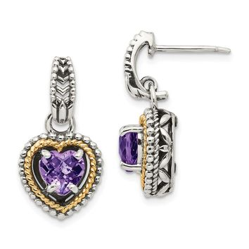Sterling Silver Two Tone Silver And Gold Plated Sterling Silver w/Antiqued Amethyst Heart Post Dangle Earrings