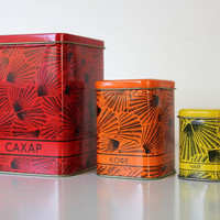 Beautiful tin canisters from Soviet Union set of 3 by agafrog