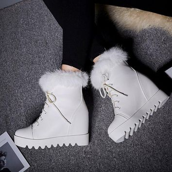 Lace-up Daily Wedge Heel Round Toe Fur Boots