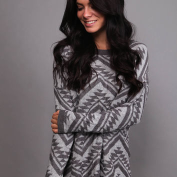 Cozy Aztec Sweater {Gray/Light Gray}