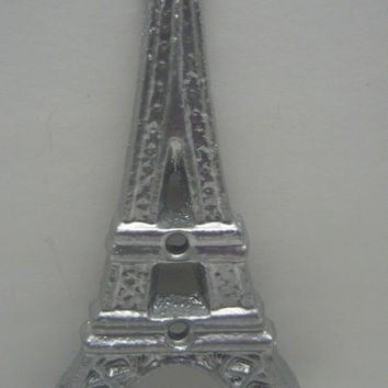 Eiffel Tower Metal Cast Iron Metallic Silver Single Wall Hook, French Decor, Paris Coat Jewelry Towel Hat Leash Hook