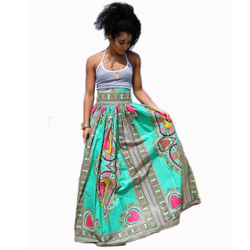 Green High Waist Heart Print Maxi Skirts