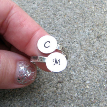 Couples Initial Ring - Adjustable Ring- Personalized Ring- Couples Jewelry- Friendship Ring- Stamped- Monogram- Mommy Ring- His and Hers