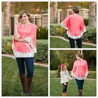 Coral Lace Bottom Top - Ryleigh Rue Clothing by MVB