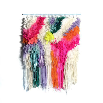 Furry Electric wonderful Raspberry Fields // Handwoven - Tapestry - Wall hanging - Weaving - Woven - Fiber Art -Textile