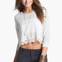 artee couture Lace Trim Crop Top (Juniors) | Nordstrom