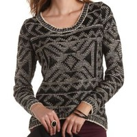 Aztec Pattern High-Low Sweater by Charlotte Russe - Taupe Combo