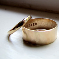 Rustic 14k Yellow Gold Hammered Unique Wedding Ring Set