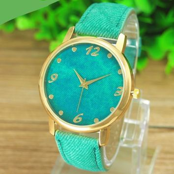 GENVIVIA New Promotion Relojes 1pcs/lot Casual Ladies Denim Cloth Alloy Dress Watches Woman Wrist Watch For Women