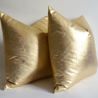 12 14 16 18 20 22 24 26 Pillow Covers Metallic Gold - large pillow - euro pillows - european pillow covers - throw pillow - pillow covers