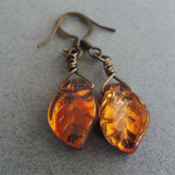 Topaz Leaf Earrings Small Golden Leaf Earrings Czech Glass Natural Woodland Style Leaf Jewelry Amber Glass Wedding Jewelry Garden Gift